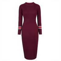 Young17 Autumn Dress Women 2018 Red Green Fashion Bodycon Round Neck Knitted Mid Calf Fall Sweater