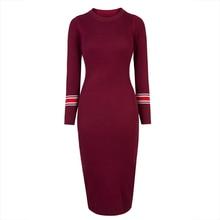 Здесь можно купить  Young17 Autumn Dress Women 2017 Red Green Fashion Bodycon Round Neck Knitted Mid-Calf Fall Sweater Dress Women Bodycon Dress
