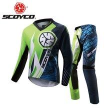 SCOYCO Motorcycle Pants Racing T-Shirt Clothing Combinations Motocross Suit Off-Road Dirt Bike DH Jersey + Hip Pads Pants Suit