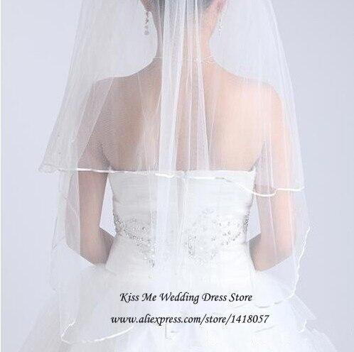 Простая дешевая белая свадебная вуаль Цвета Слоновой Кости Атласный край один слой свадебный аксессуар Фата с расческа