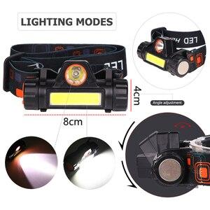 Image 3 - Più Potente Faro XPE + COB USB Ricaricabile Del Faro Del Built In Batteria Head Light Impermeabile Testa Della Torcia di Campeggio Della Lampada Della Testa