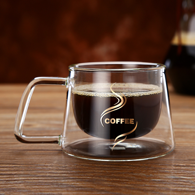 2in1 Fashion 200ml Double Wall Gl Coffee Mug Heat Resistant Insulated Daily Drinkware Juice Cup Whole