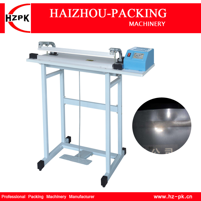 HZPK Foot Pedal Impulse Sealer Packing Machine Heat Bag Sealer Stand Floor Type Plastic Bag Sealing Machine Sealer 700mm SF-700 lx pack brand long reach large hand type sealer hand impulse heat sealer industrial deluxe home using type 24 32 600 1000mm