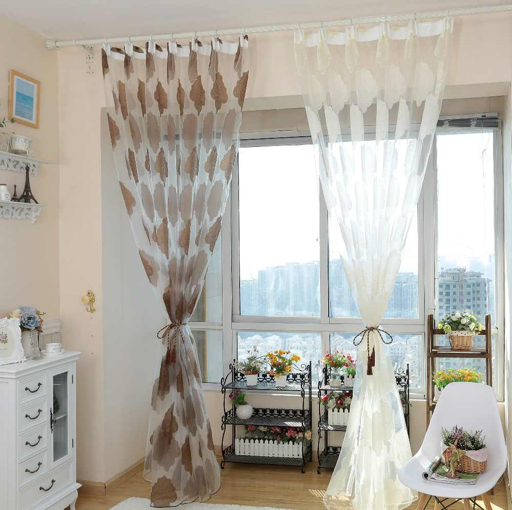 NAPEARL European style jacquard organza fabric  for tulle curtains ready made balcony and kitchen