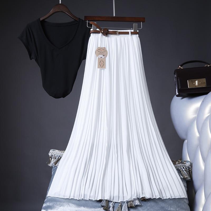 2020 High Quality Women Summer Skirt High Waist Vintage Women Pleated Skirt Saias Femme Boho White Long Chiffon Skirt Streetwear