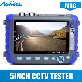 2018 New Arrival IV8C 5MP AHD Camera Tester with 5 Inch LCD Monitor 4in 1 AHD CCTV TVI CVBS Security Camera Tester