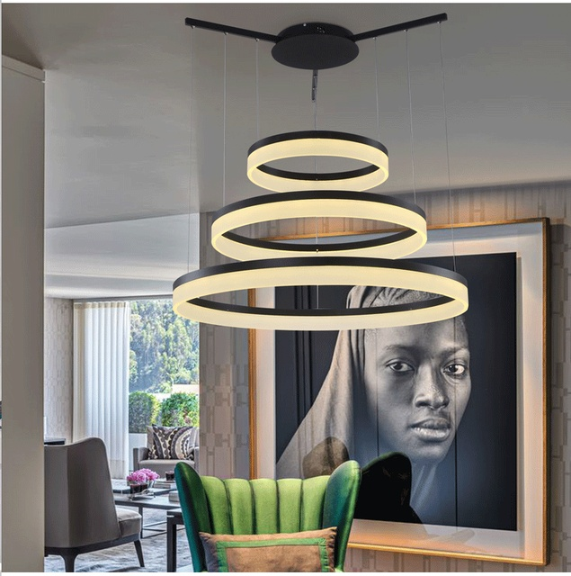 Round ring led acrylic pendant lamp hanging lightlustre suspension round ring led acrylic pendant lamp hanging lightlustre suspension drop luminaire for dining room aloadofball Images