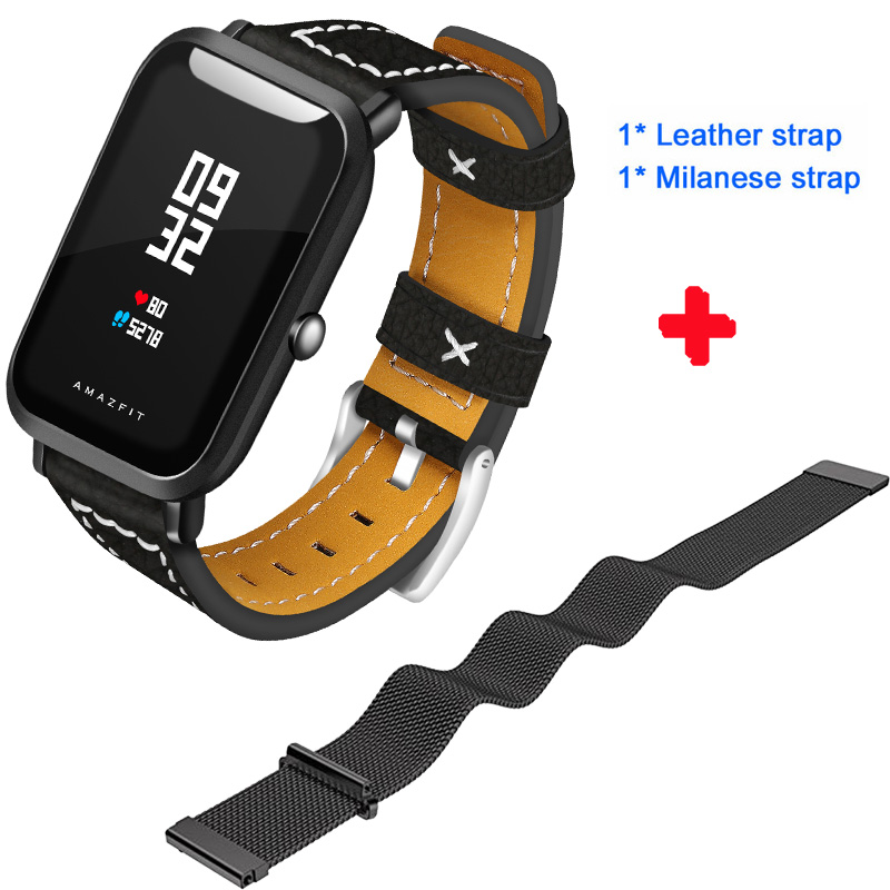 Leather+Milanese Stainless steel strap For Xiaomi Huami Amazfit Bip Bit Youth Edition Watch Heart Rate Monitor Band belt