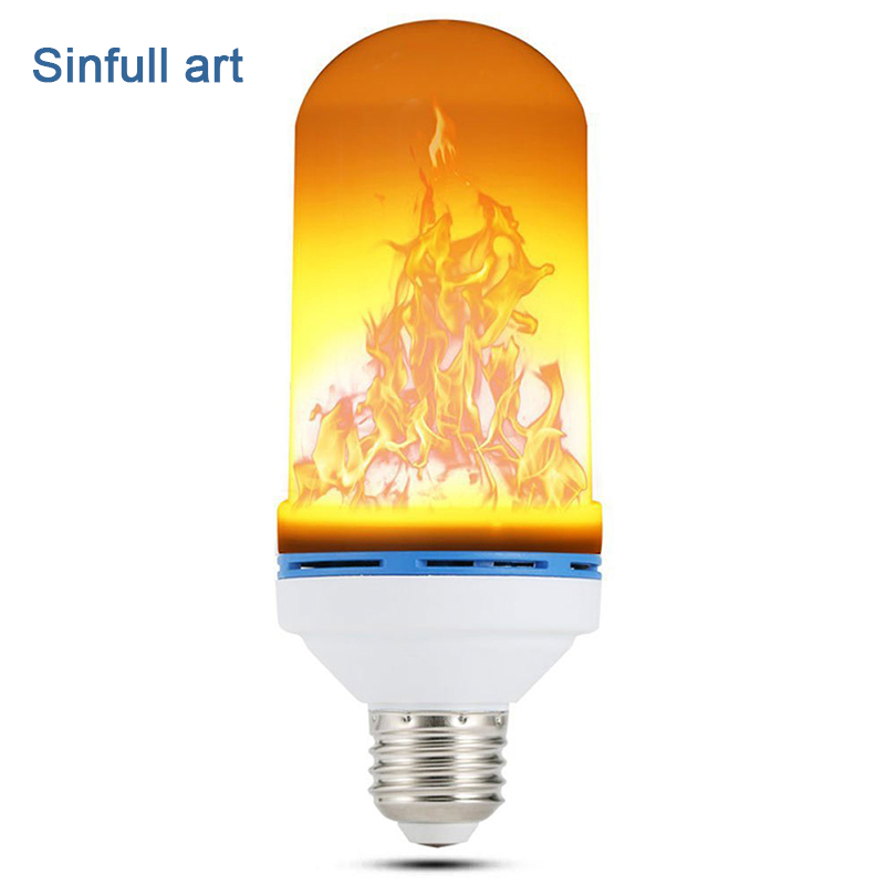 SINFULL ART E27 led flame lamps Flickering flame light bulb SMD2835 Simulated fire effect Decorative Lamp 7w Atmosphere Lighting e26 led flame bulb flickering flame effect simulated flame light decorative light for hotel bars home restaurants