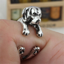RONGQING Antique Silver Cute Beagle Rings Beagle Dog Puppy Anels Adjustable Animal Rings for Women RONGQING JZ-003