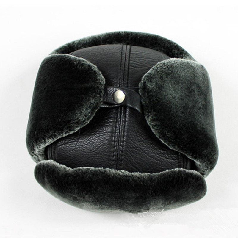 XdanqinX Winter Genuine Leather Hat Men 39 s Cowhide Warm Bomber Hat With Ears Middle aged Velvet Thick Earmuffs Ski Cap Dad 39 s Hats in Men 39 s Bomber Hats from Apparel Accessories