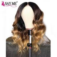 1B/4/27 Honey Blonde Ombre Brazilian Body Wave Wigs Lace Front Human Hair Wigs Pre Plucked Remy Lace Front Wig For Women SAY ME