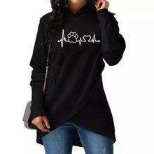Fashion Dog Paw Print Hoodies Women Kawaii Tops Youth And Sweatshirts High Quality 2018 fallow Creative Pocket big size S- 5XL