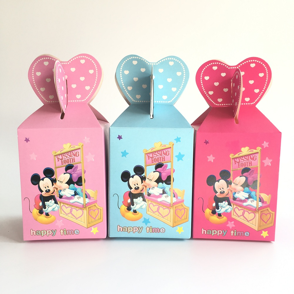 20pcs Baby Shower Gift Box Birthday Decorations Candy Box for Boy and Girl Kids Favor Boxes Minnie/Mickey Mouse Party Supplies Коробка