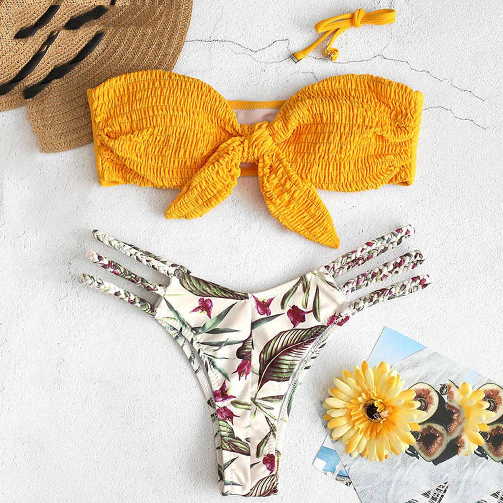 Женский желтый купальник с принтом и плетеной веревкой, без бретелек, на бретельках, из двух частей, с бантом, бикини, пуш-ап, бандо, купальник, пляжная одежда # LR4