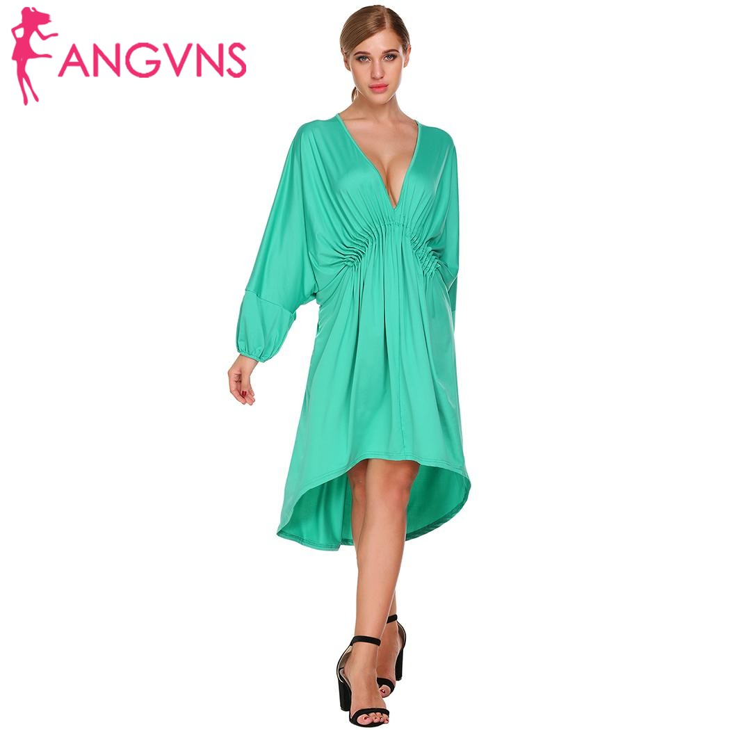 ANGVNS Loose Party Dresses Women Batwing Sleeve Deep V Neck Draped ...