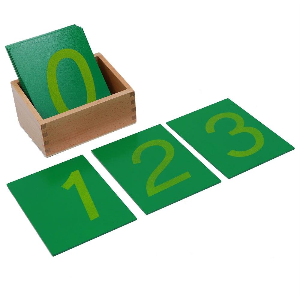 Montessori bébé éducation jouets en bois mathématiques apprentissage numéros de papier de verre avec des boîtes de 0-9