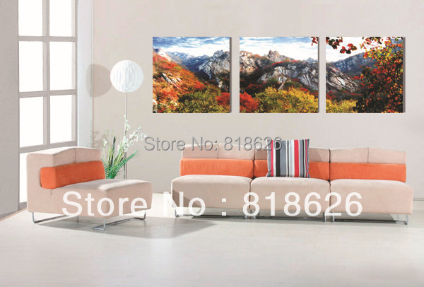 3 Panel Autumn Landscape Mountain Red Leaf Wall Hunging