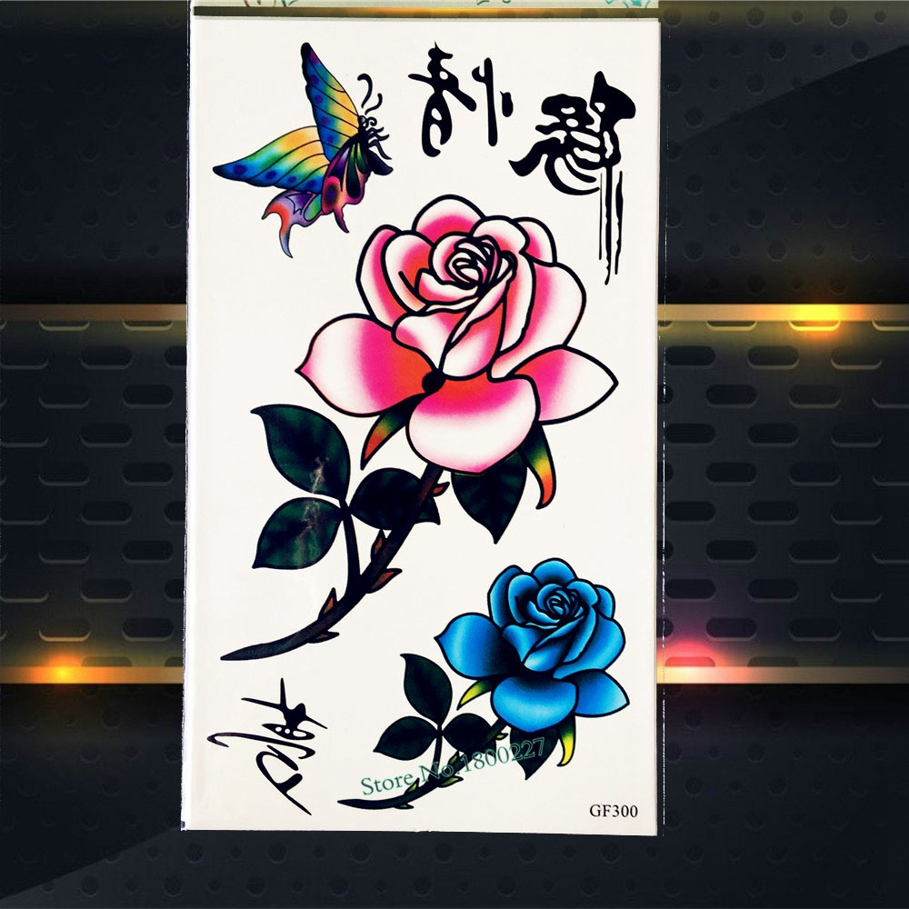 3D Sexy Roses Waterproof Temporary Tattoo Stickers Women Body Art Tattoo Arm Sleeves PGF300 Henna Tattoo Shoulder