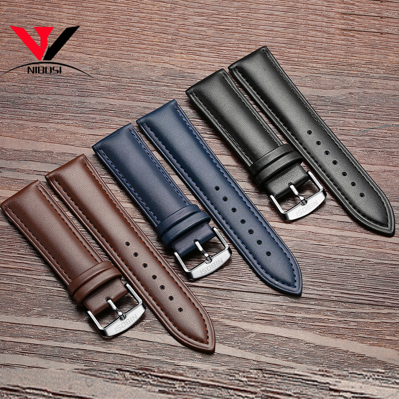 High Quality 20mm 22mm Genuine Leather Strap Watch Band NIBOSI Leather Watchband With Black Blue And Brown Colors