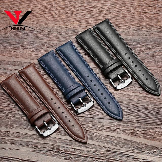 High Quality 20mm 22mm Genuine Leather Strap Watch band NIBOSI Leather Watchband