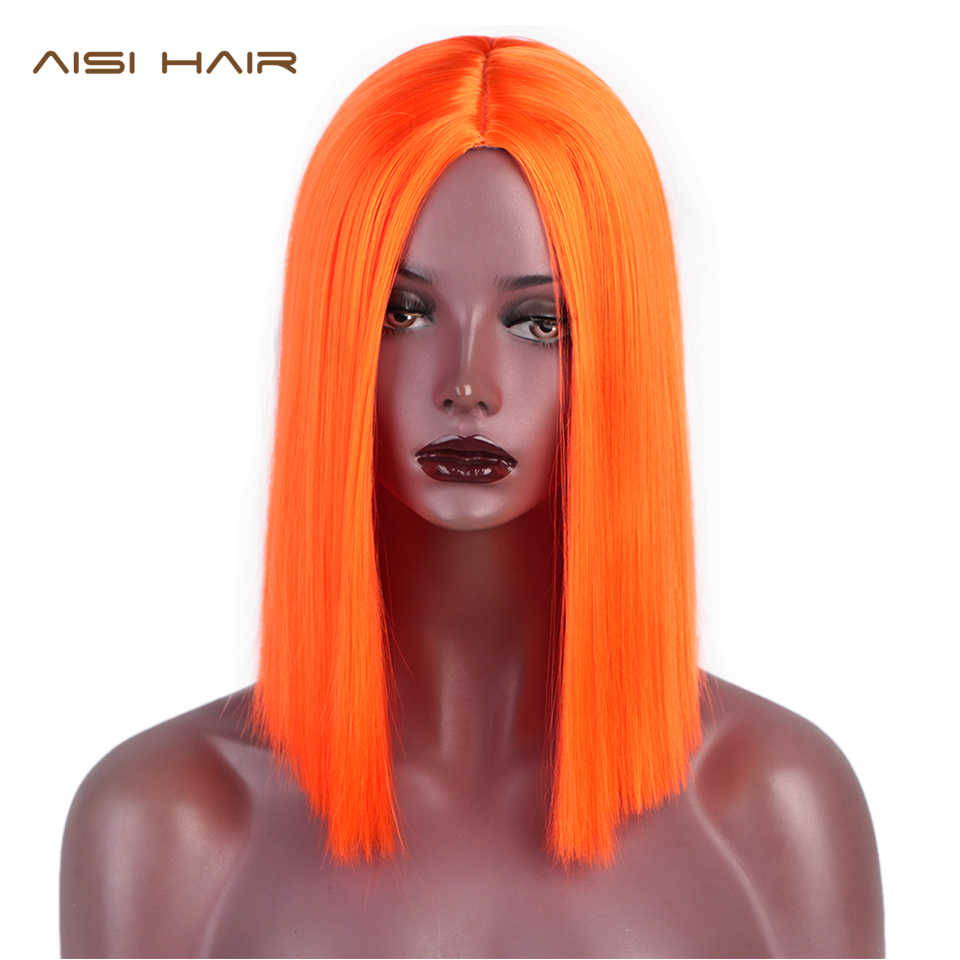 AISI HAIR 12'' Short Straight Synthetic Wigs Orange Color Heat Resistant Hair Middle Part Nature Blunt Cut Bob Wigs for Women