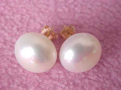Free shipping wholesale A Pair Of Natural 10-11mm South Sea White Pearl Earrings 14K/20 Gold Stud