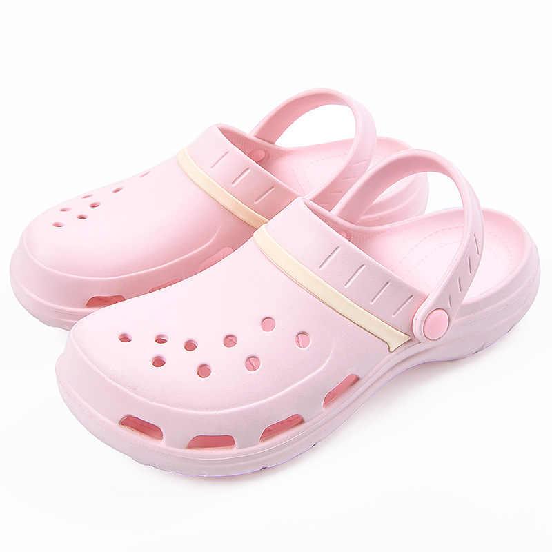 apariencia estética primera vista gama completa de artículos Sandalias de gelatina para mujer, zapatos de verano antideslizantes,  zapatillas planas de plástico para niñas, impermeables para jardín de EVA  zapatos