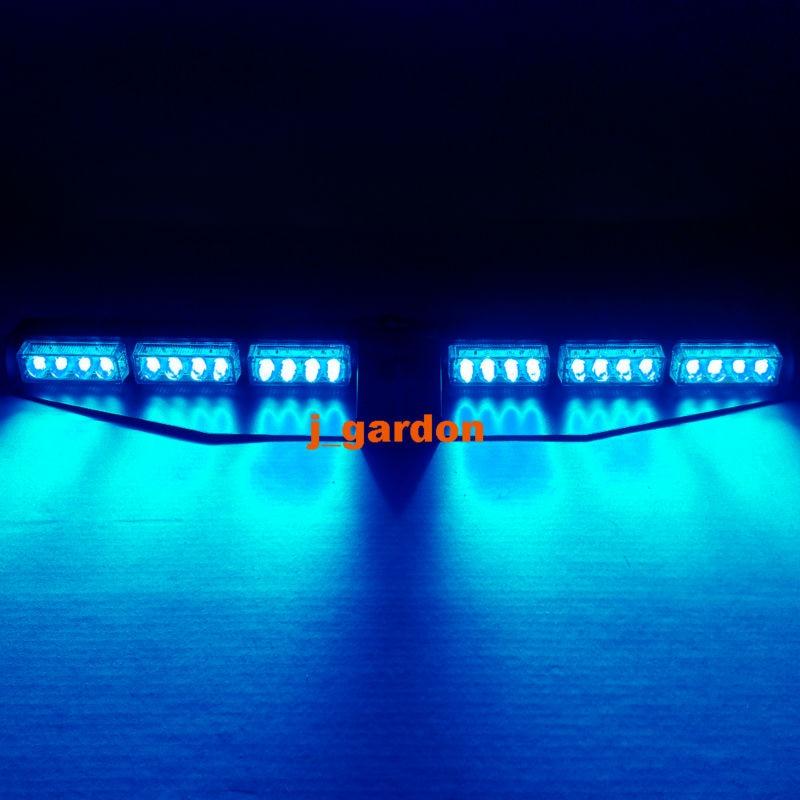 2 x 12 LED 3 Watt Car Truck Emergency Beacon Light Exclusive Split Visor Deck Dash Hazard Strobe Warning Blue LightBar