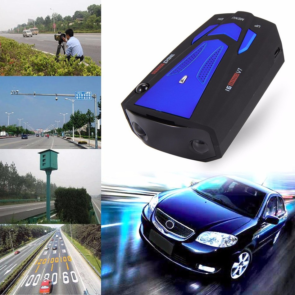 Auto 360 Degree English/Russian Car Anti Radar Detector for Vehicle V7 Speed Voice Alert Warning 16 Band LED Display