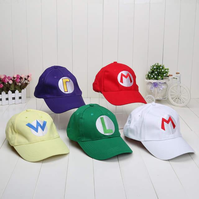 eda0478d59a3 placeholder Super Mario Bros Baseball Hat Caps Mario Luigi Hats 5colors Red  Green Yellow White Purple