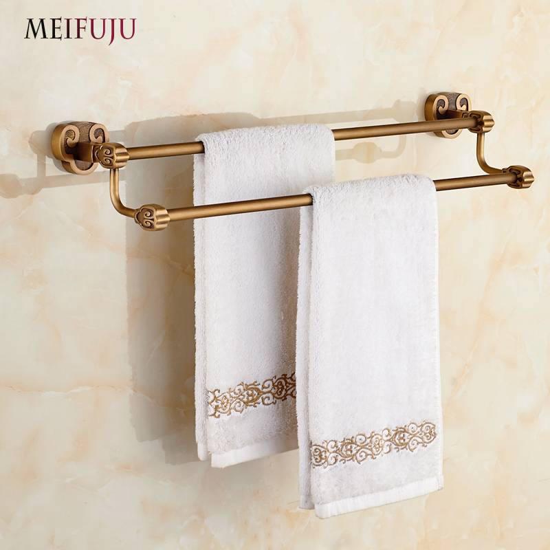 Bathroom Accessories Towel Bar Holder Bath Products Rail Rails Rack Hardware Hanging towels Brass Double Decor sanitary ware batroom golden crystal double cup holder bathroom double cup rack holder hardware bath sets bathroom accessories
