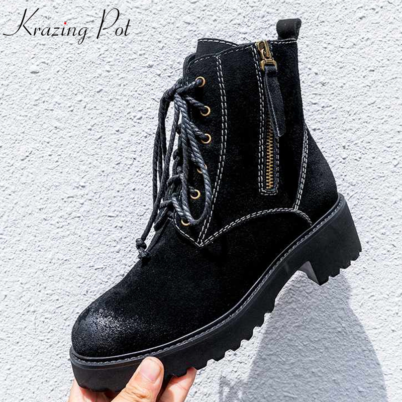 Krazing Pot Winter cow suede nightclub punk rock black color med heel motorcycle boots Winter zipper round toe ankle boots L11 krazing pot winter kid suede cow leather patch work high heel basic boots winter zipper round toe office lady ankle boots l12