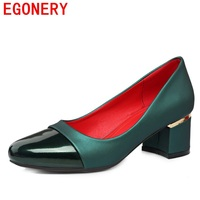 Egonery Fashion Pumps Woman 2017 Square Heels Good Quality Shoes Women High Heel Concise Shoes For