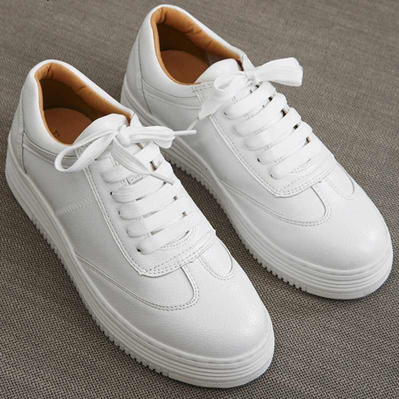 b50e98c5d Модная Белая обувь; женские кроссовки; повседневная обувь на платформе;  парусиновая Обувь На Шнуровке