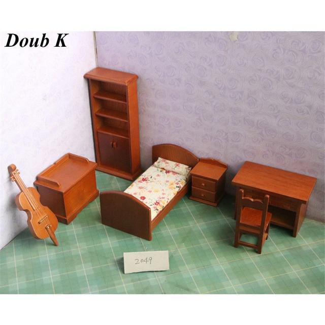 Doub K 1:12 Wood Dollhouse Furniture Toy Wooden Furniture Miniature Bedroom Dolls  House Pretend