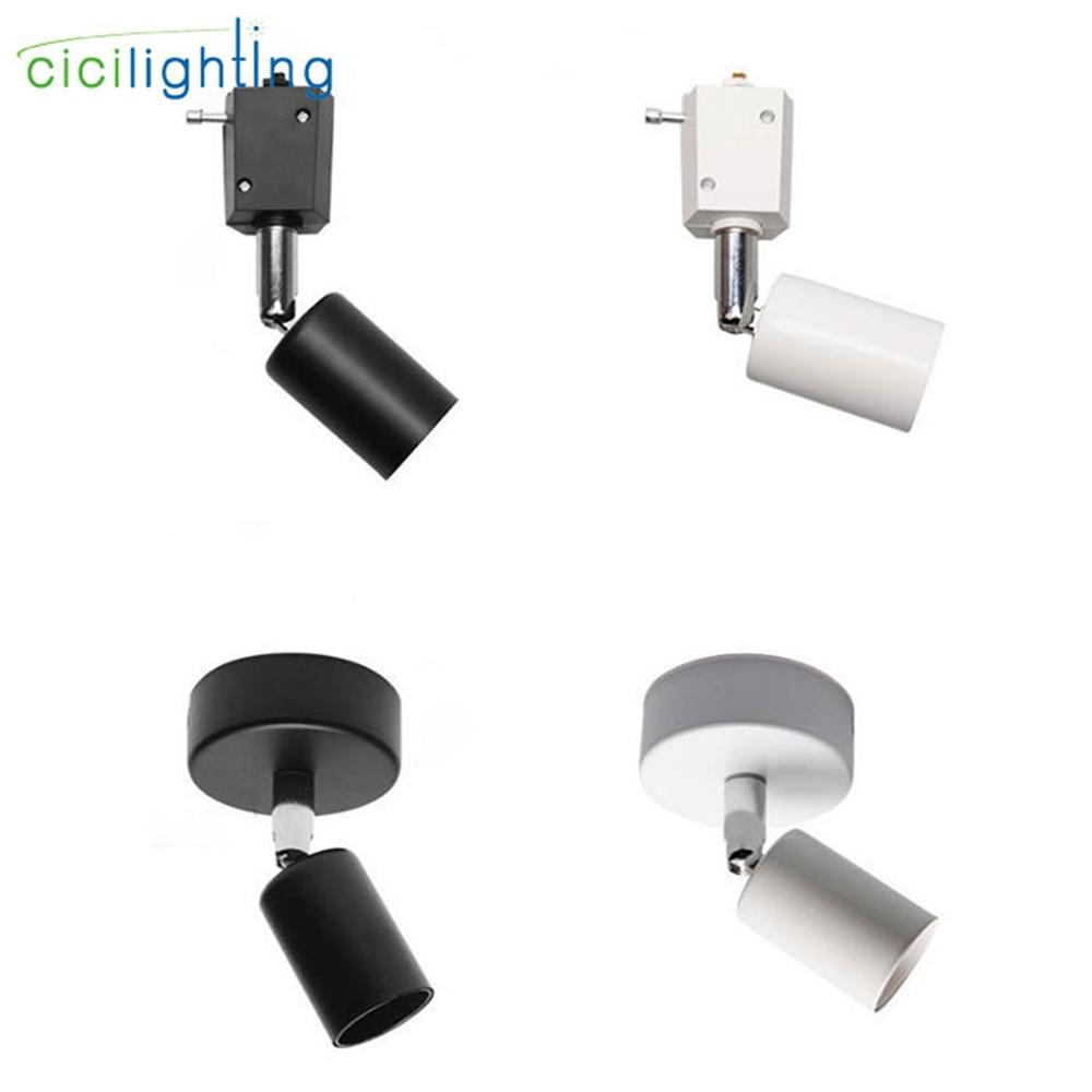 New E27 Surface Mounted Ceiling Lights Or Rail Mounted Ceiling Lamp Black White Industrial Ceiling Light LED Rail Lighting