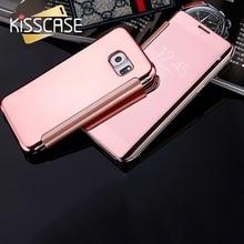 KISSCASE Clear Make Up Mirror Flip Case For iPhone 7 6 6S 6plus 5 5s se Samsung Galaxy S6 Edge S7 S7 Edge J1 J5 J7 A3 A5 A7 Case
