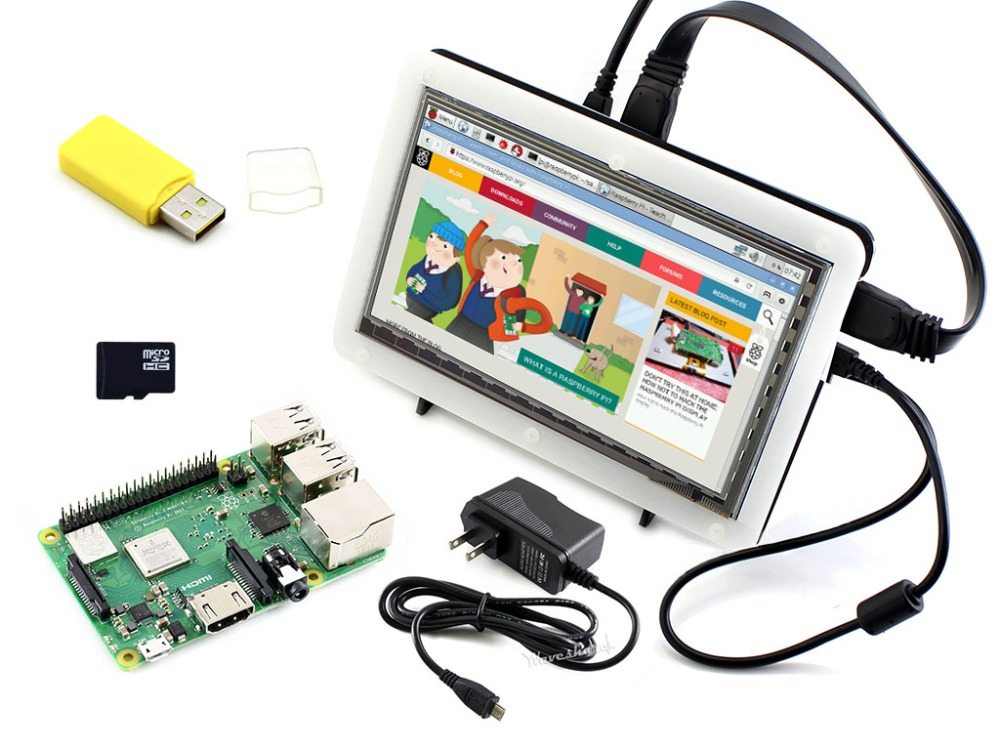 Waveshare Raspberry Pi 3 Model B+, Development Kit, 7inch HDMI LCD (C), Bicolor case, 16GB Micro SD card, Power Adapter