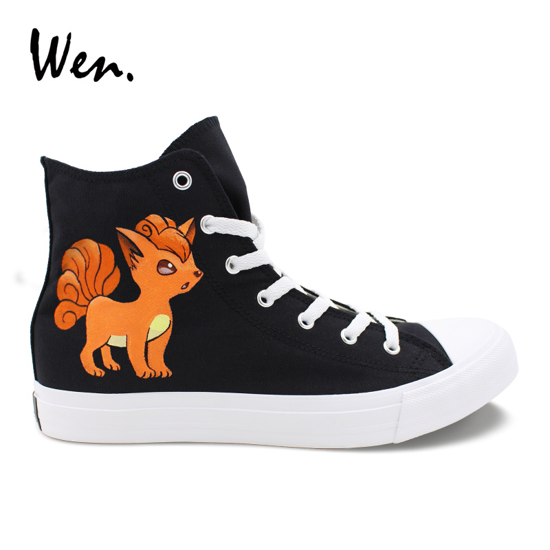 Wen Design Custom Hand Painted Shoes Anime Pokemon Go Vulpix Fox High Top Black Canvas Sneakers Boy Girl Skateboard TrainersWen Design Custom Hand Painted Shoes Anime Pokemon Go Vulpix Fox High Top Black Canvas Sneakers Boy Girl Skateboard Trainers