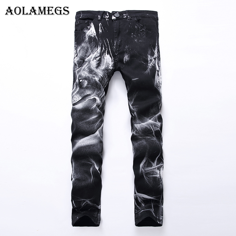 Aolamegs Men Jeans Pants Wolf Head Print Pattern Black Motorcycle Pants Full Length Trousers Summer Splicing Light Denim Fashion