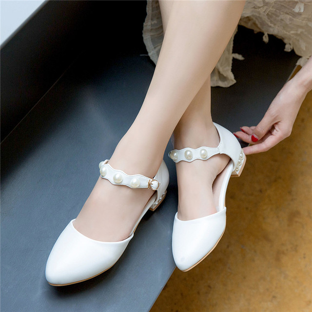 YMECHIC 2018 Lovely Party Wedding Shoes White Bead Mary Jane Buckle Ladies  Low Heel Shoes Large Size Pumps Women Summer Shoes 62e6f70a0366