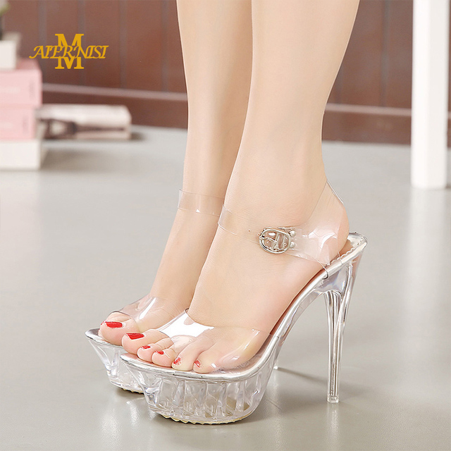 MAIERNISI Women Sexy Fetish 14cm High Heels Crystal Cinderella Sandals Clear  Heels Plus Size 42 43 Pumps Transparent Jelly Shoes