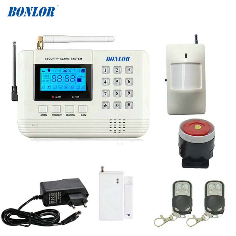 LCD Display 433MHz Wireless Alarm System SMS GSM PSTN Dual Network Home Security PIR Motion Sensor Door open Detector Smoke 433mhz dual network gsm pstn sms house burglar security alarm system fire smoke detector door window sensor kit remote control
