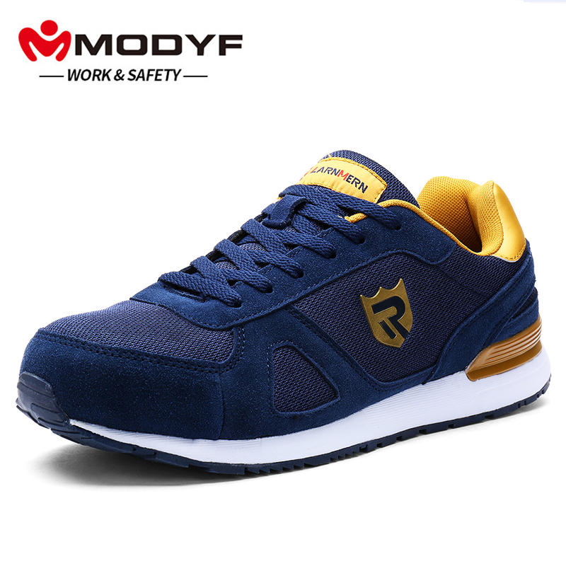MODYF Men s Steel Toe Work Safety Shoes Breathable Lightweight Anti smashing Reflective Construction Protective Footwear