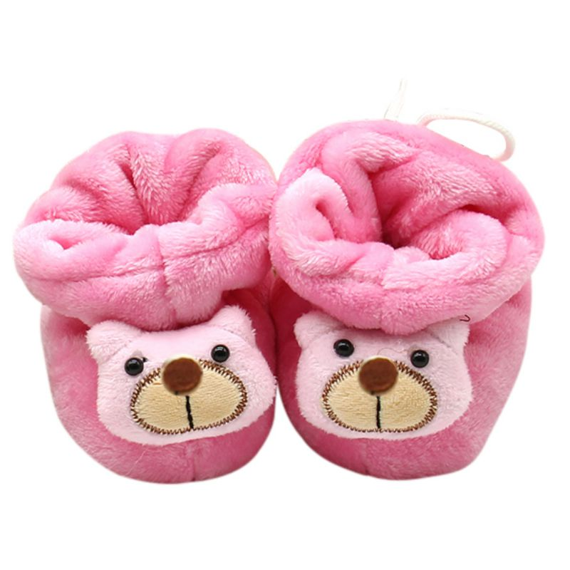 Winter Cute Newborn Baby First Walkers Warm Animal Prints Cotton Shoes For 0-6 Months