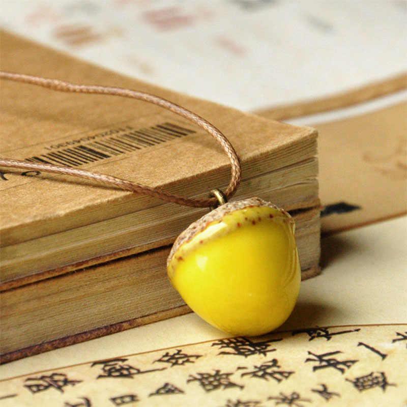 Керамические ожерелья желудь милые кулоны Pinecone сосна конус мультфильм белка и орех ожерелье-чокер с шармами цепь женские мужские ювелирные изделия