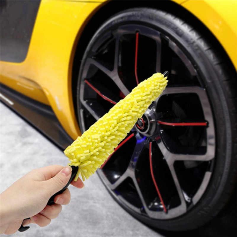 Roue jantes pneu lavage brosse poignée en plastique voiture roue brosse véhicule nettoyage brosse Auto gommage brosse voiture lavage éponges outils