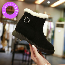 TESILIXIEZI Fashion Slip On Ankle Boots Casual Comfortable Elegant Ladies Snow Boots Plush Insole Flat Female Botas Mujer New stepreach brand shoes woman boots flat casual round toe short plush comfortable slip on ankle boots for women ladies botas mujer