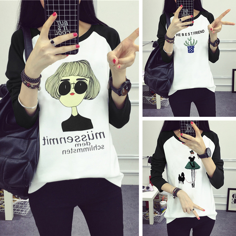 women Animal t shirt Korean fashion black tshirt long sleeve cartoon cat Owl printed tops tee shirt camisas femininas 2018 mujer
